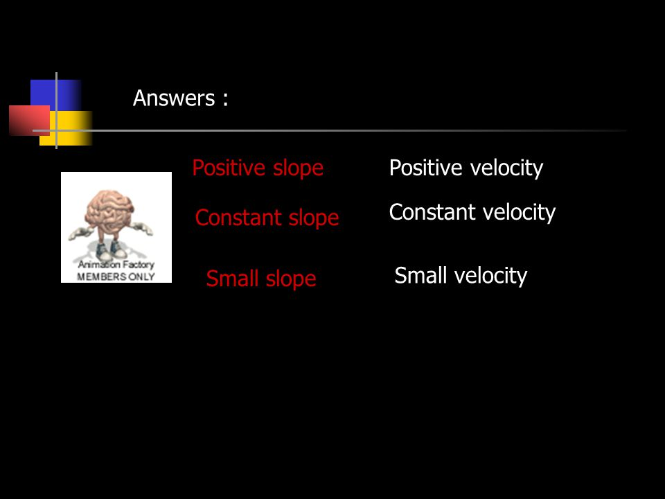 Answers : Positive slope. Positive velocity. Constant velocity.
