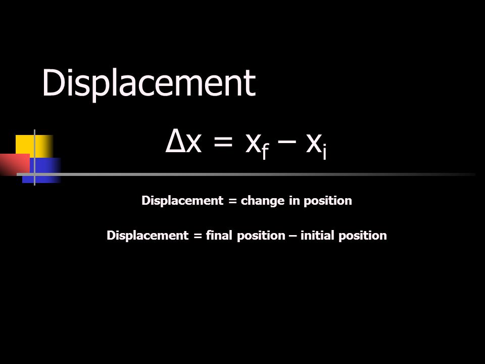 Displacement Δx = xf – xi Displacement = change in position