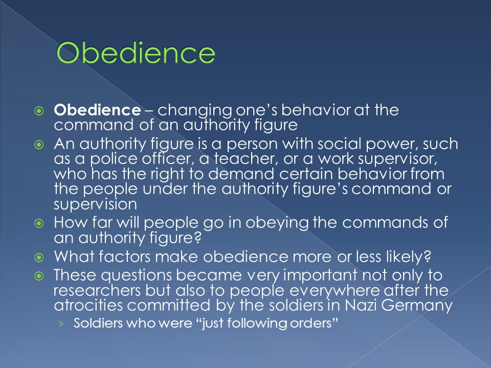 psychology of the nazi obedience Obedience in perspective: psychology and the holocaust george r mastroianni us air force academy  clearly, there was more to the genocidal nazi program than the dispassionate obedience of the average citizen who participated in the murder of his fellow citizens who were jewish out of a sense of duty not malice at the same time, it could.
