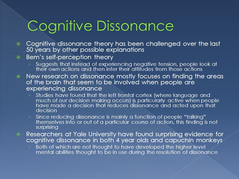 the role of cognitive dissonance in decision making Abstractscholars of public and foreign policy have emphasized the role of decision making pathologies – cognitive dissonance dissonance and decision-making.