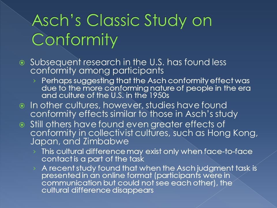 a discussion on conformity The amount of ss' conformity during group discussion was not affected by the  degree of conformity pressure or the direction of the ss' deviation when ss later .