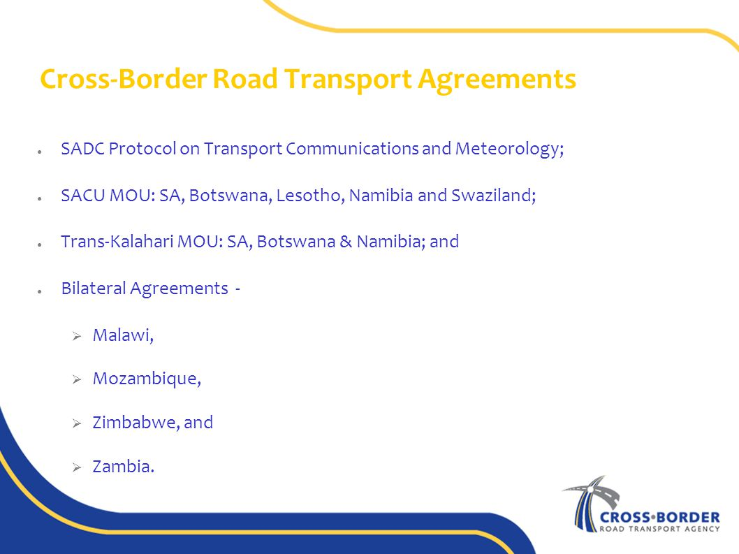 Cross border road transport agency select committee on public 7 cross border road transport agreements platinumwayz