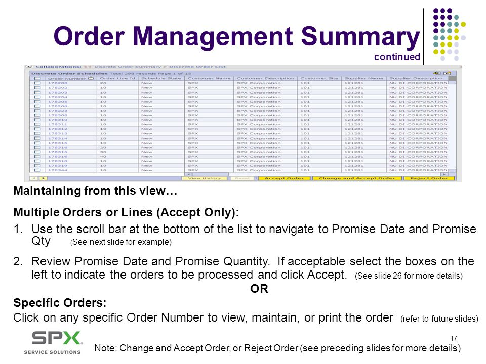 Order Management Summary continued