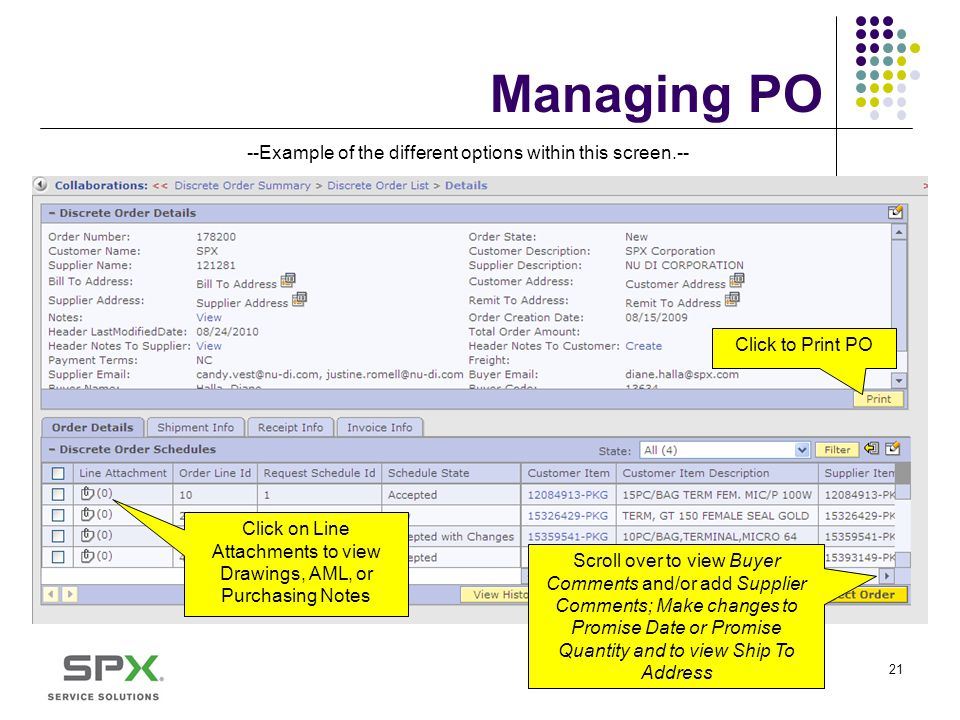 Managing PO --Example of the different options within this screen.--