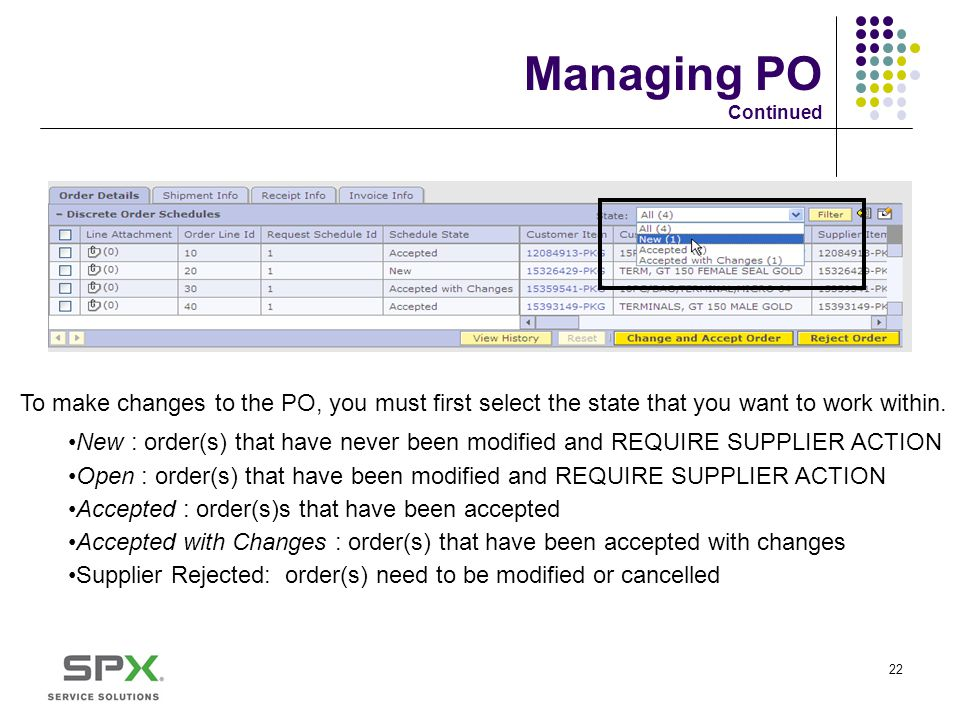 Managing PO Continued To make changes to the PO, you must first select the state that you want to work within.