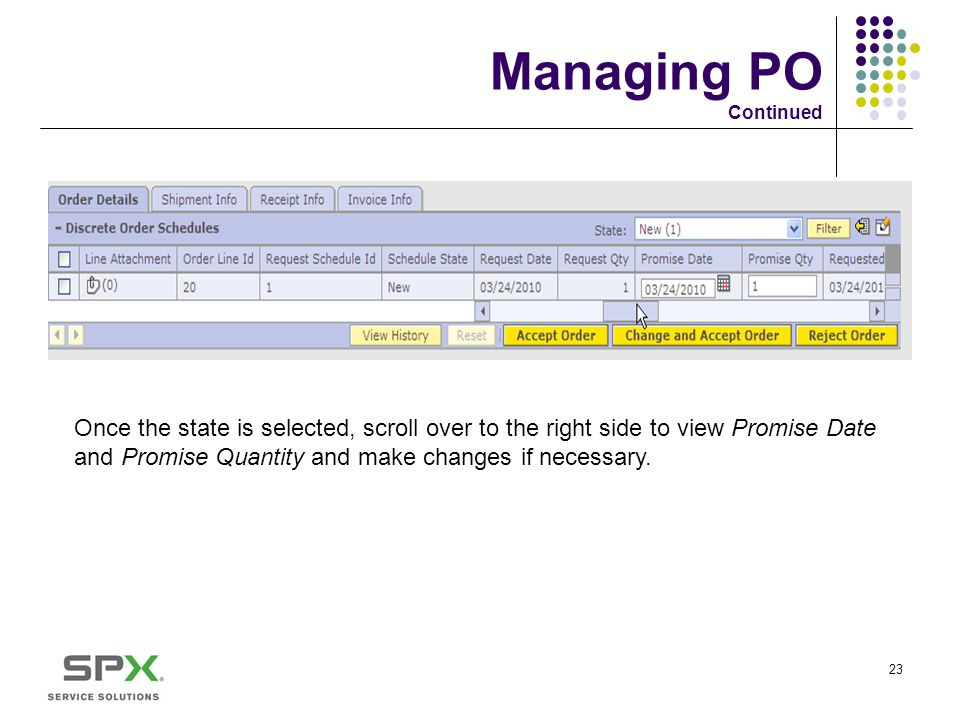 Managing PO Continued