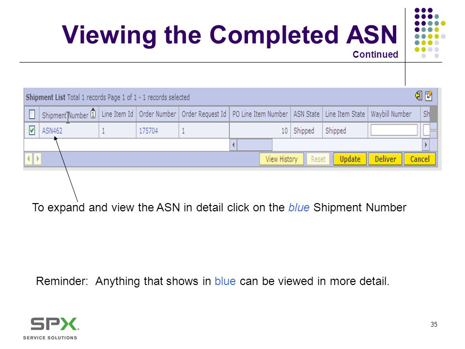 Viewing the Completed ASN Continued