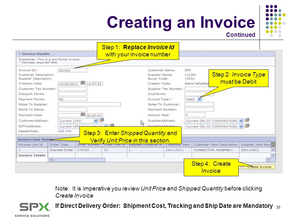 Creating an Invoice Continued