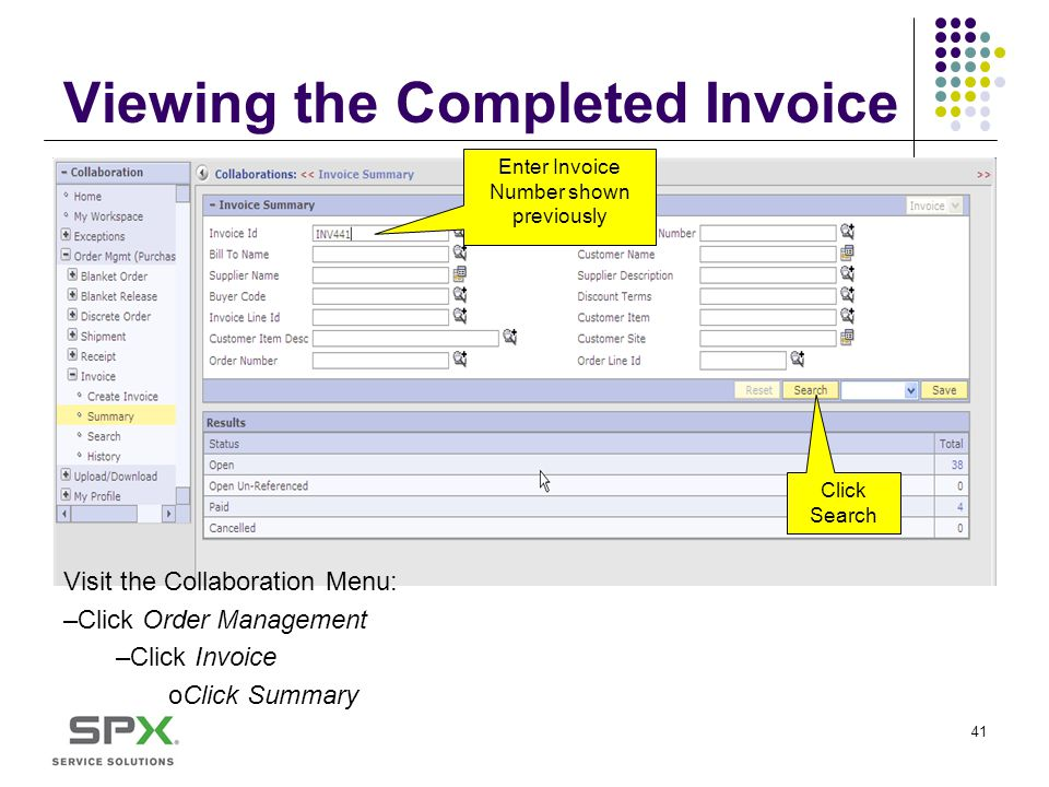 Viewing the Completed Invoice