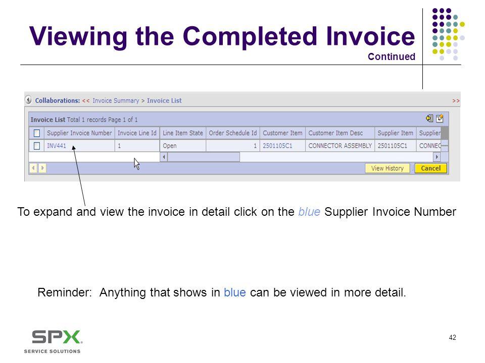 Viewing the Completed Invoice Continued