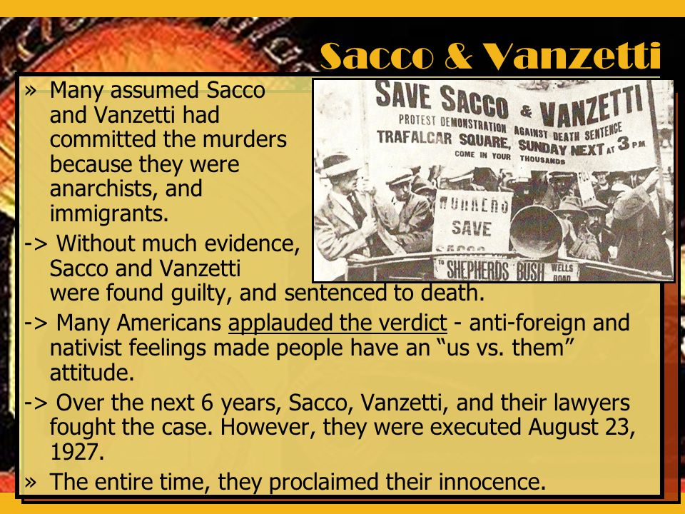 the sacco and vanzetti case Essay Examples