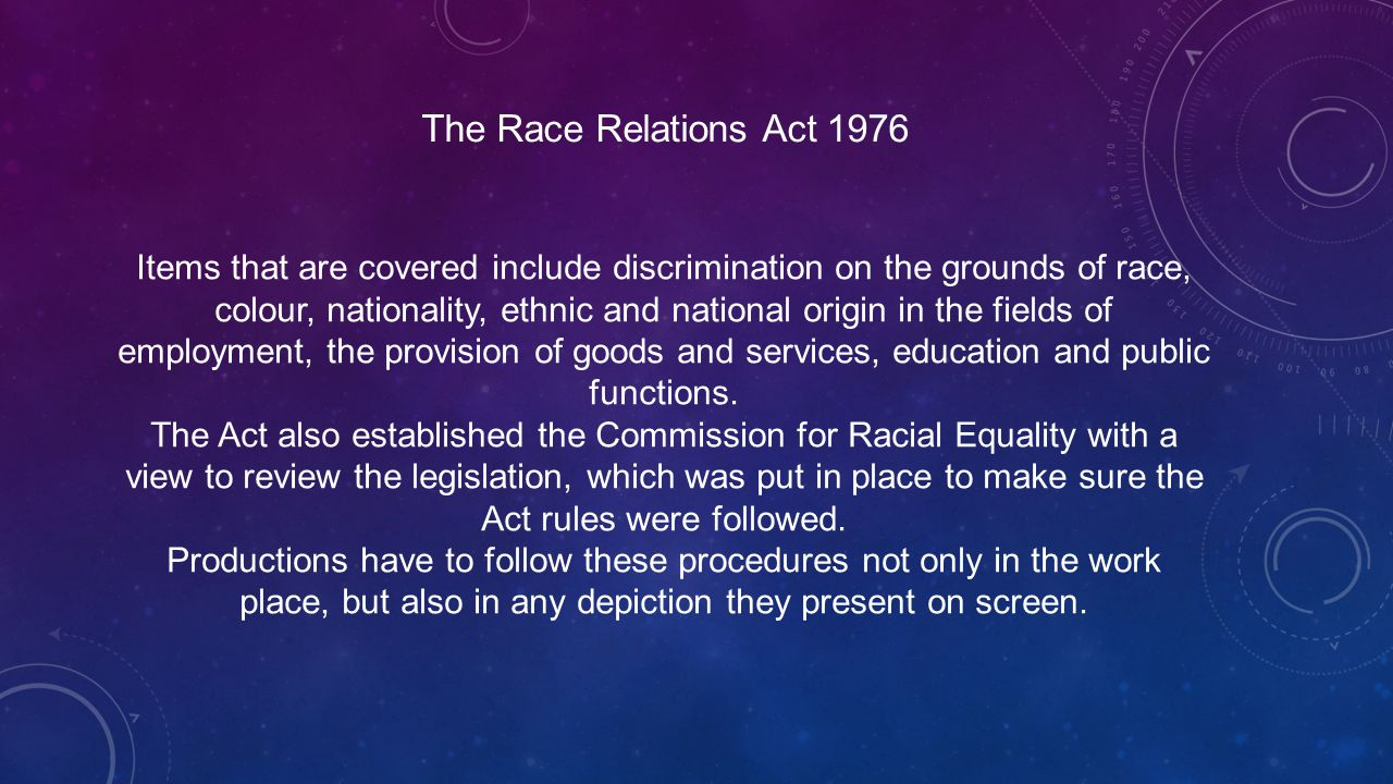 the race relations act 1976 It's called the race relations act 1965, it was the first of its kind, and it  the  race relations act 1965, 1968, 1976 and the equality act 2010,.