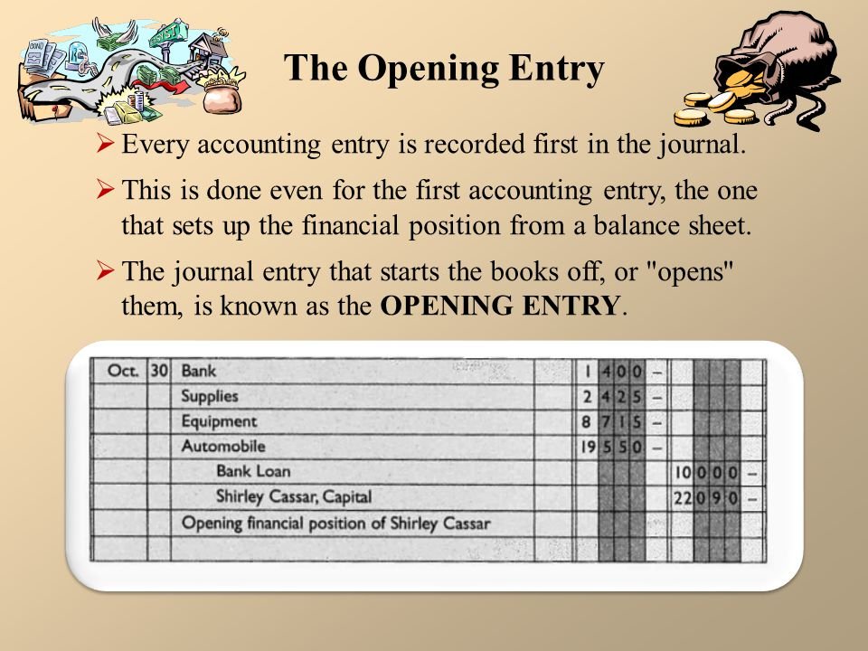 The Opening Entry Every accounting entry is recorded first in the journal.