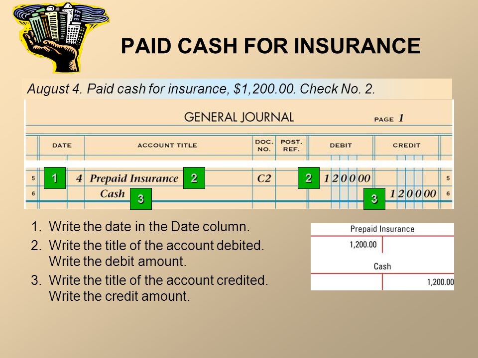 PAID CASH FOR INSURANCE