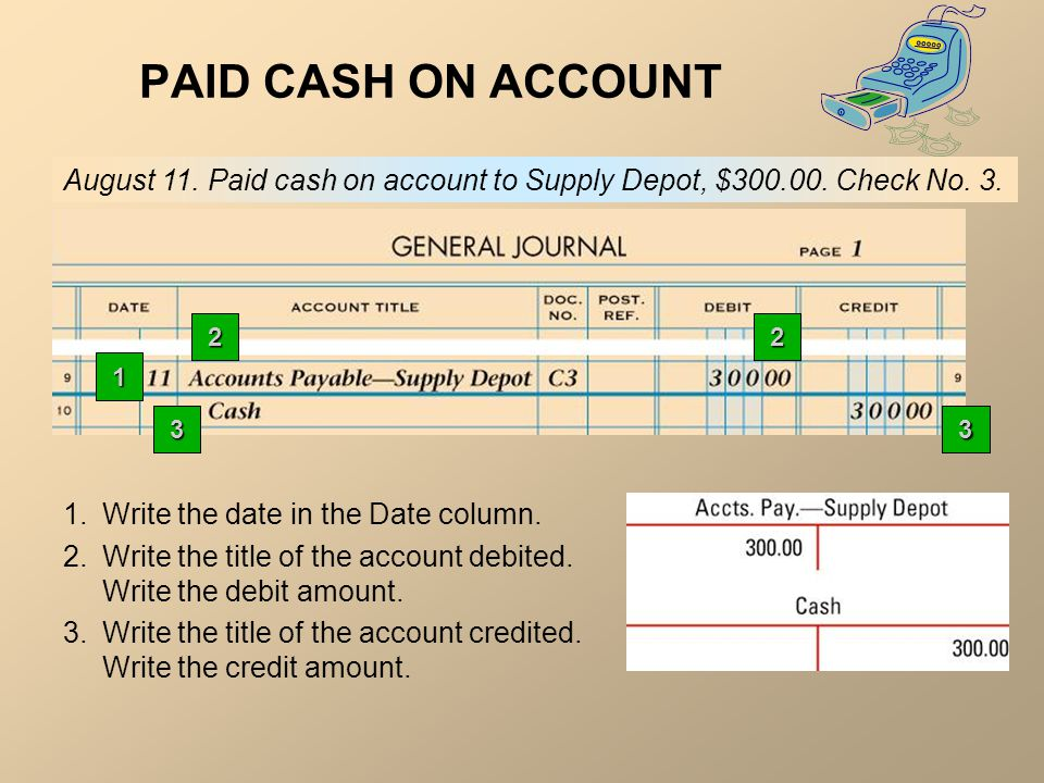 PAID CASH ON ACCOUNT August 11. Paid cash on account to Supply Depot, $ Check No