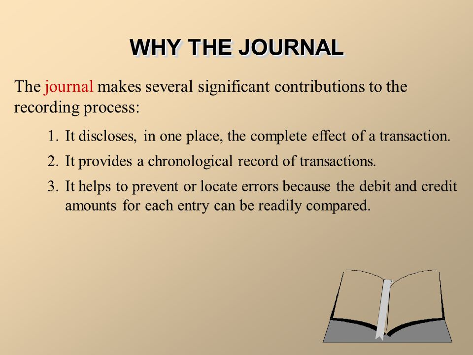WHY THE JOURNAL The journal makes several significant contributions to the recording process: