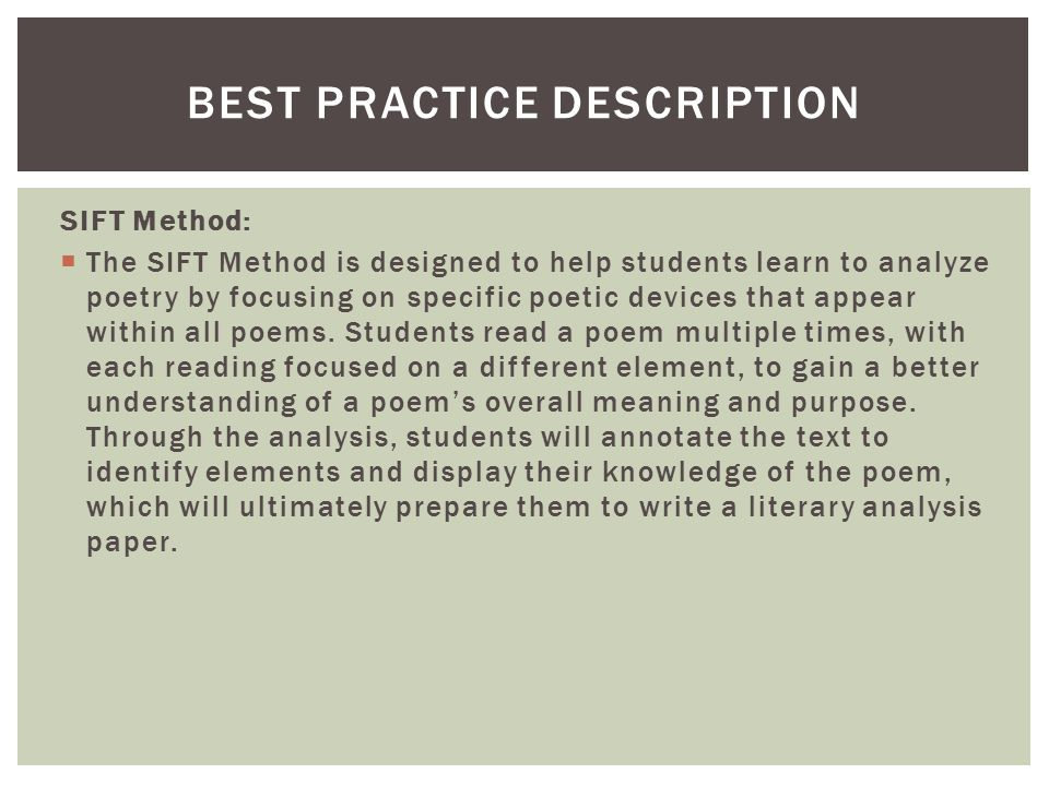 Best Practice description