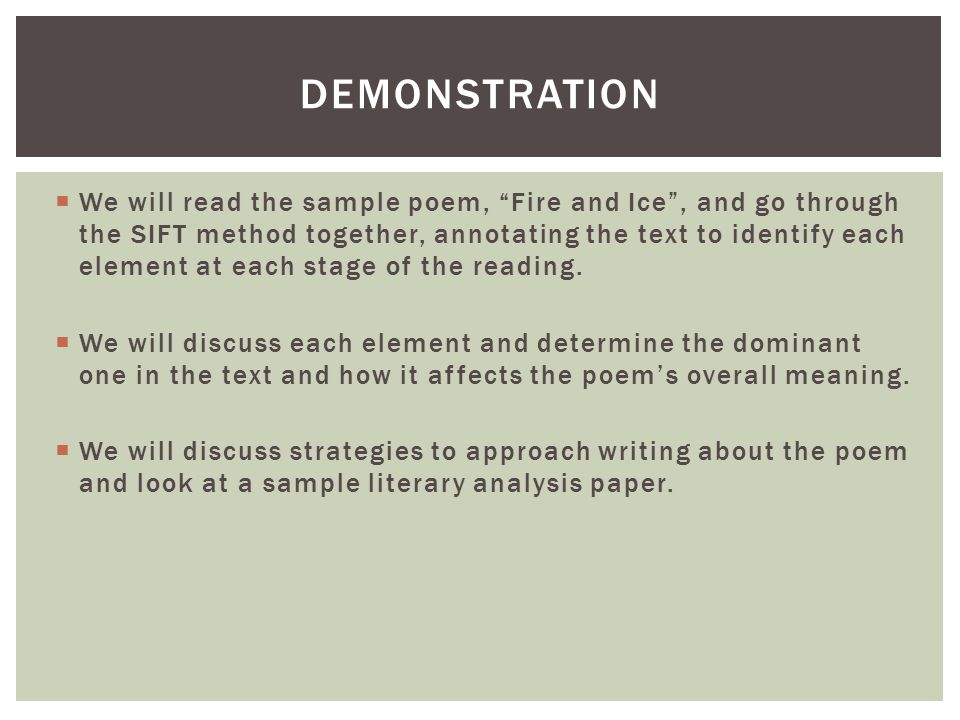 sift poetry analysis catherine hillman edur ppt video online  4 demonstration we will the sample poem