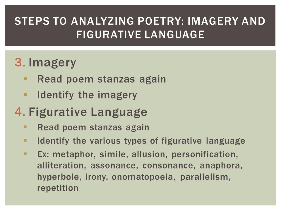 Steps to Analyzing Poetry: Imagery and Figurative Language
