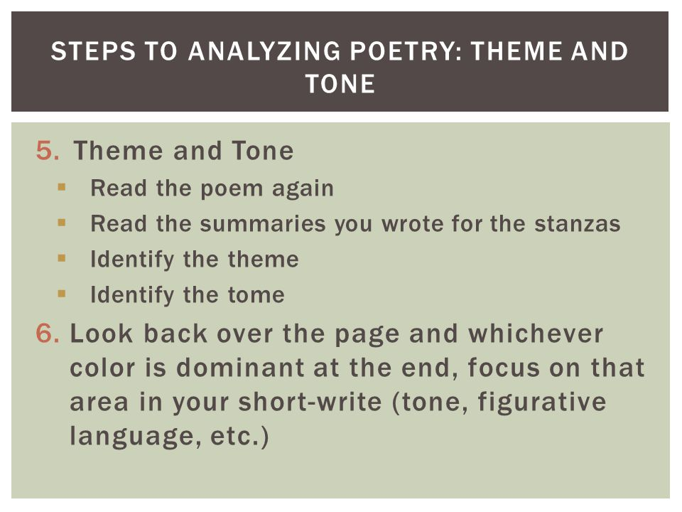 Steps to Analyzing Poetry: Theme and Tone