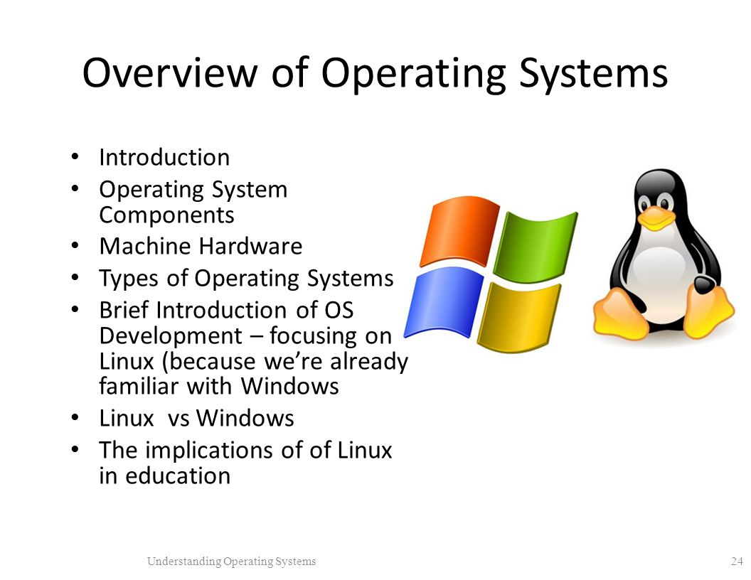 an overview of the linux operating system A linux based operating system will have a standard library of procedures, which allows the userland software to communicate with the kernel.