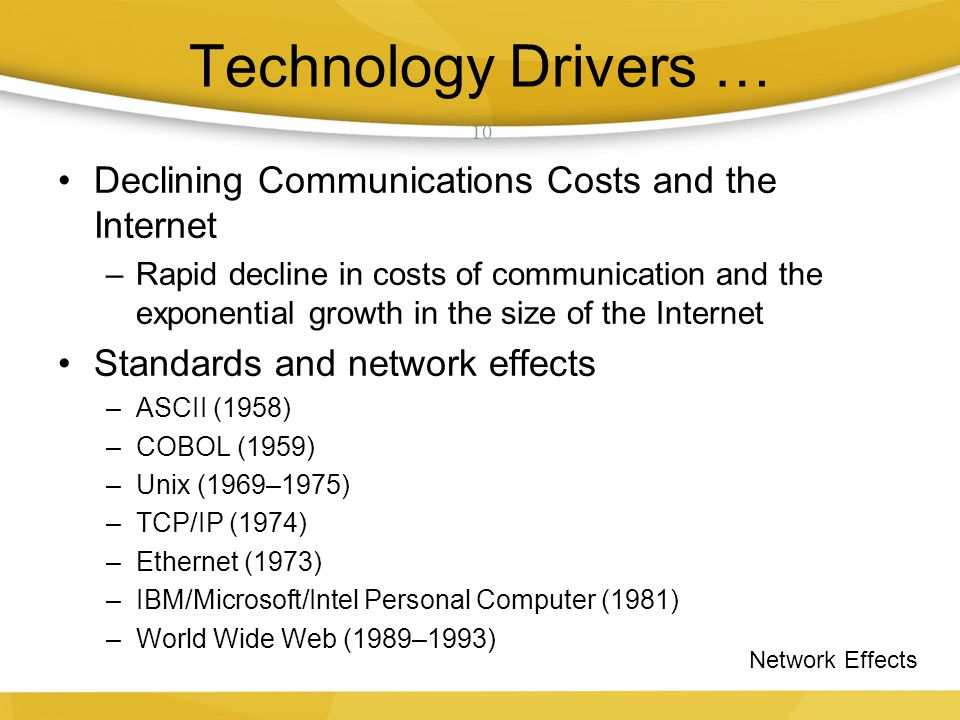 Technology Drivers … Declining Communications Costs and the Internet