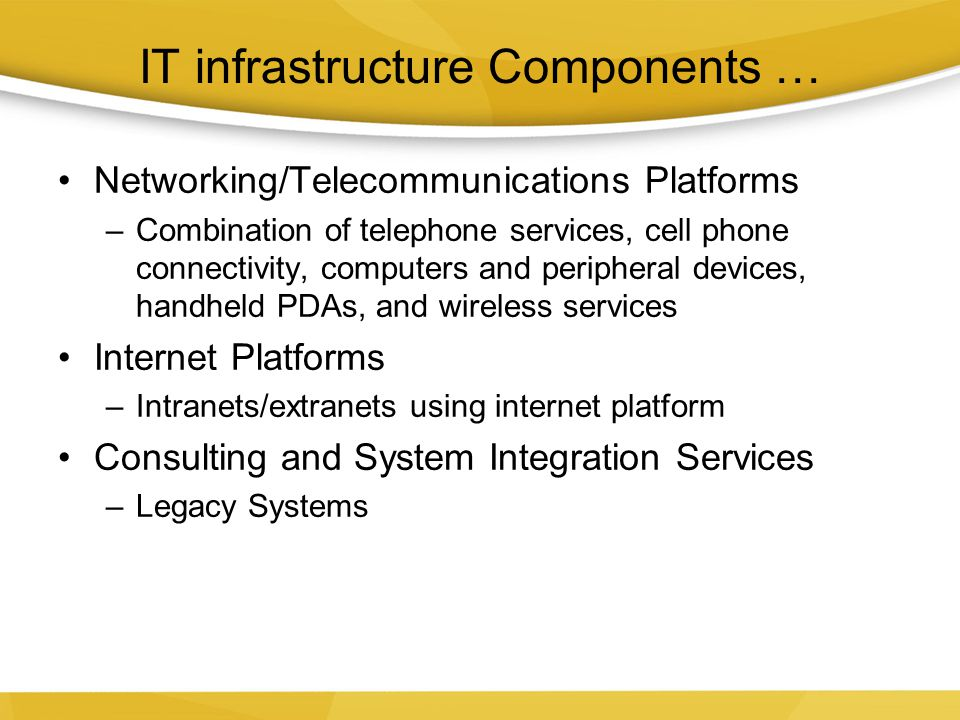 IT infrastructure Components …