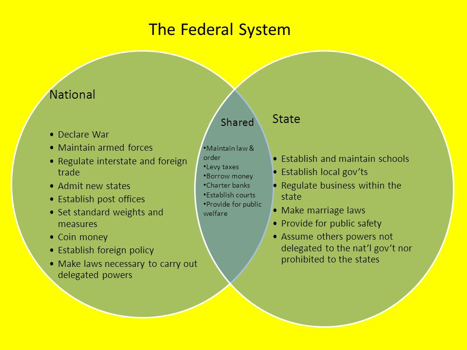 The Federal System National State Shared Declare War
