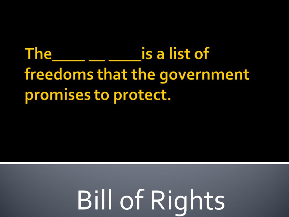 The____ __ ____is a list of freedoms that the government promises to protect.