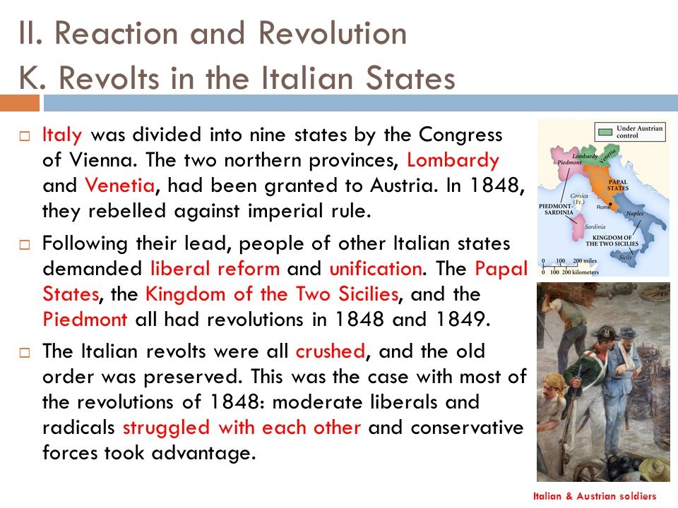 "nationalism revolutions of 1848 and italian unification unification essay (""the revolutions of 1848: in germany, italy, and france"") in italy, nationalism began to form, the conservative leaders felt threatened by the ideas of the nationalist as well as liberalist because the ideas were very radical."