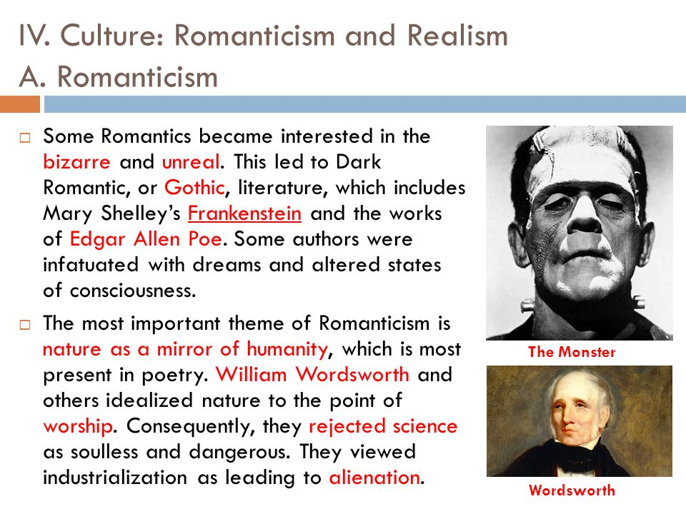 Realism and romanticism in the poetry