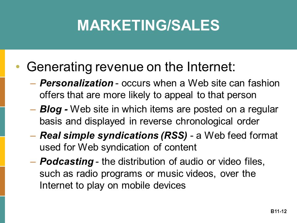 MARKETING/SALES Generating revenue on the Internet:
