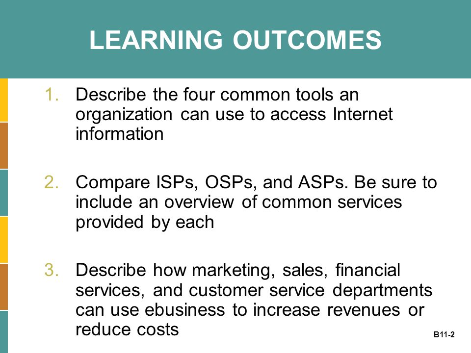 LEARNING OUTCOMES Describe the four common tools an organization can use to access Internet information.