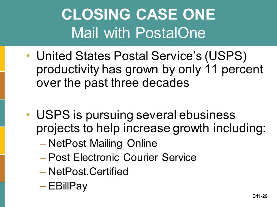 CLOSING CASE ONE Mail with PostalOne