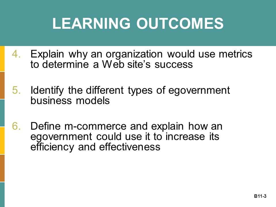 LEARNING OUTCOMES Explain why an organization would use metrics to determine a Web site's success.
