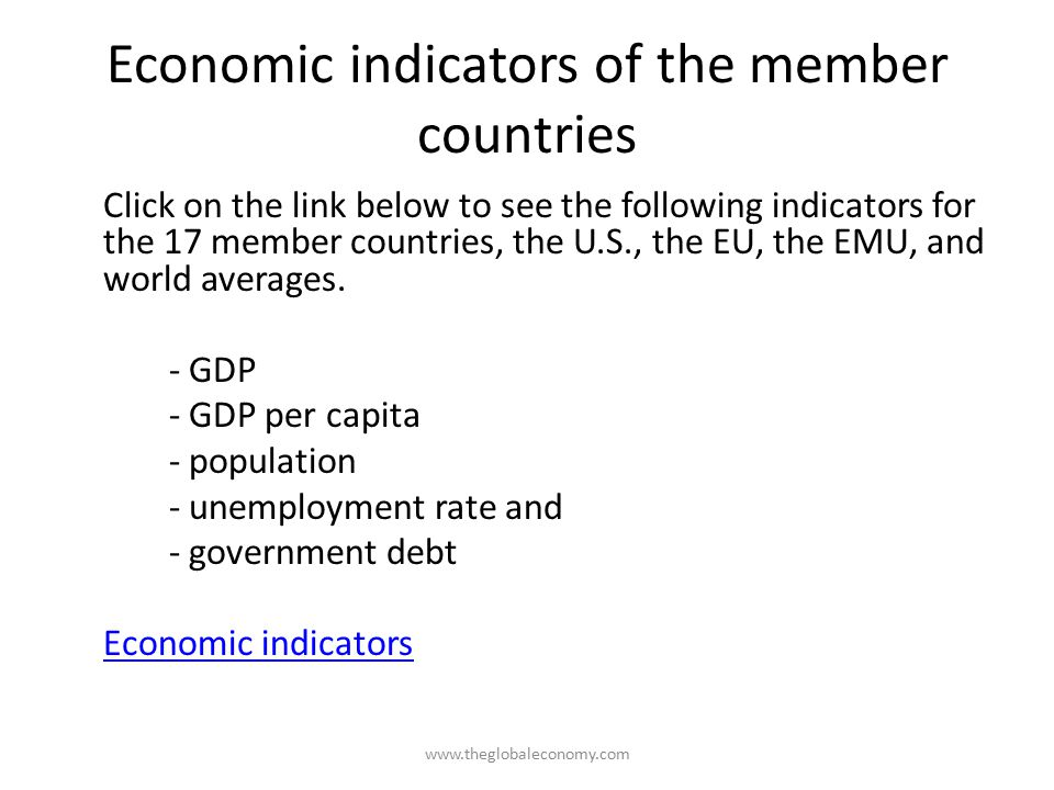 Economic indicators of the member countries