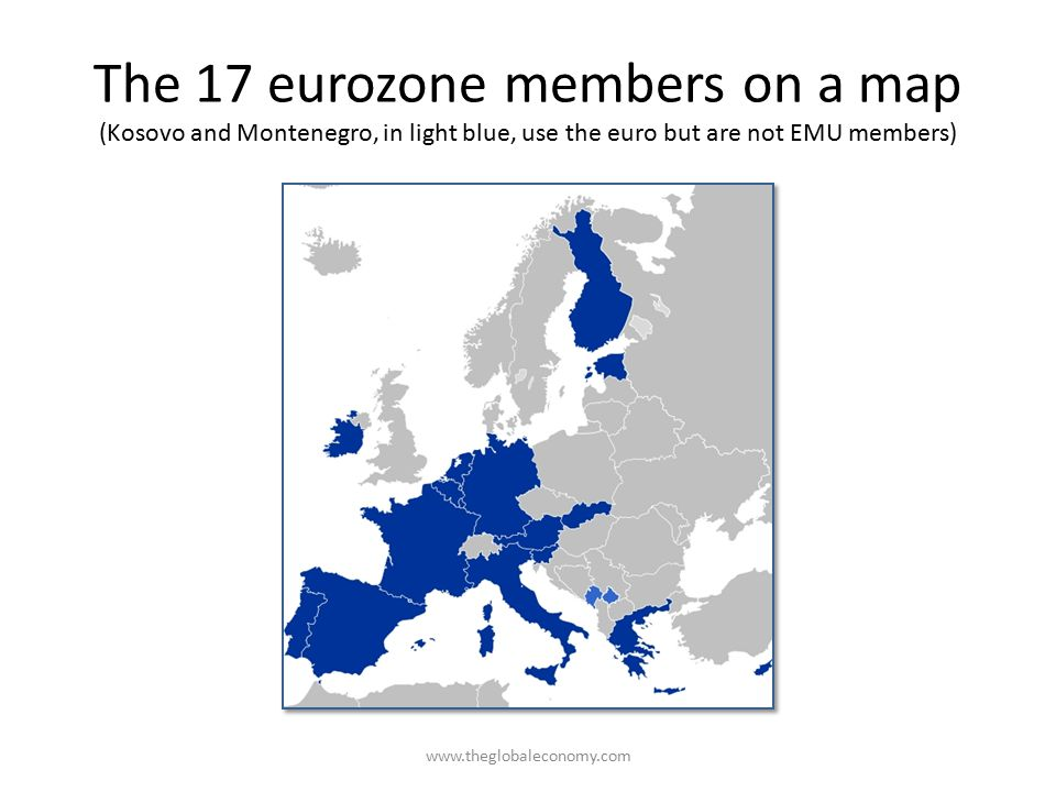The 17 eurozone members on a map (Kosovo and Montenegro, in light blue, use the euro but are not EMU members)