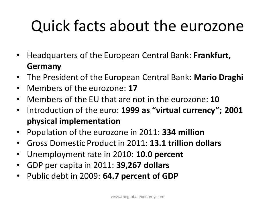 Quick facts about the eurozone