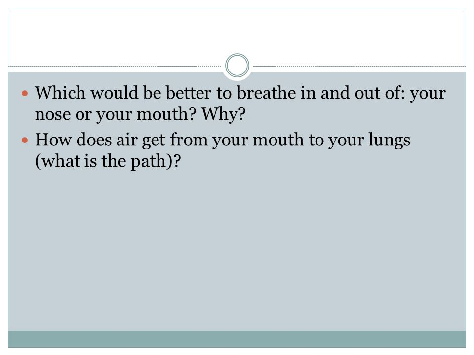 Which would be better to breathe in and out of: your nose or your mouth Why
