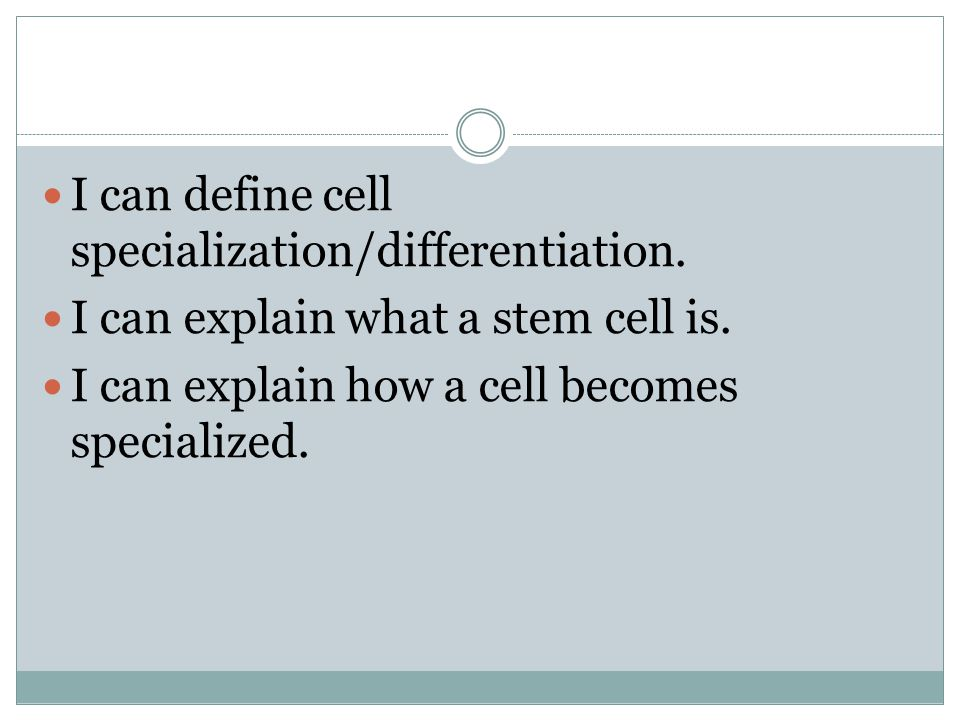 I can define cell specialization/differentiation.