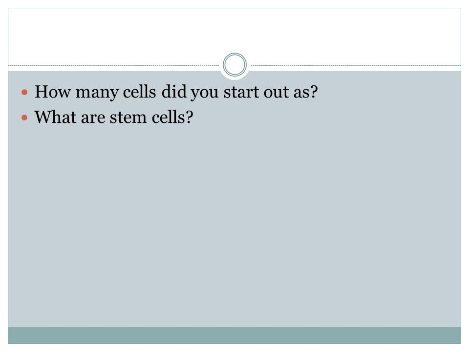 How many cells did you start out as