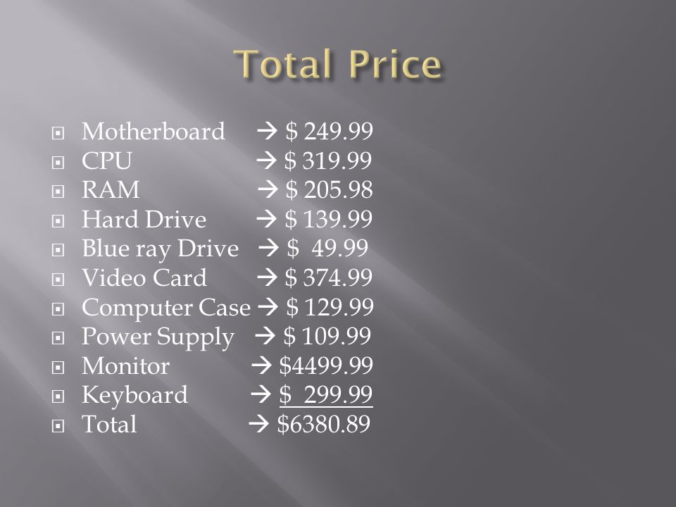 Total Price Motherboard  $ CPU  $ RAM  $