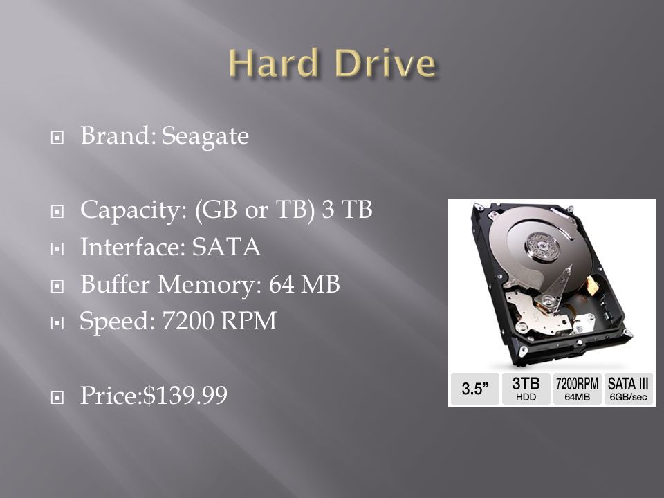 Hard Drive Brand: Seagate Capacity: (GB or TB) 3 TB Interface: SATA