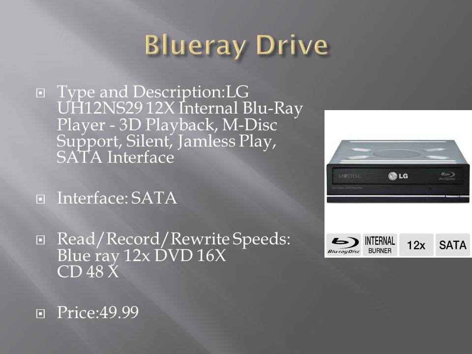 Blueray Drive Type and Description:LG UH12NS29 12X Internal Blu-Ray Player - 3D Playback, M-Disc Support, Silent, Jamless Play, SATA Interface.