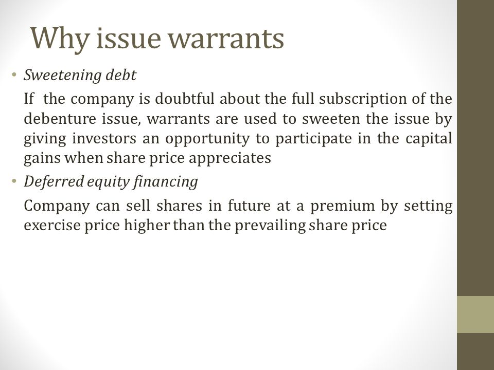 equity warrant bonds Definition warrants vest the owner of the warrant with the right to purchase currency amounts ( currency warrants), bonds ( bond warrants), or stocks (.