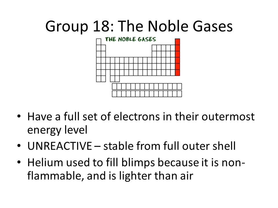 Tour of the periodic table ppt download group 18 the noble gases have a full set of electrons in their outermost energy urtaz Gallery