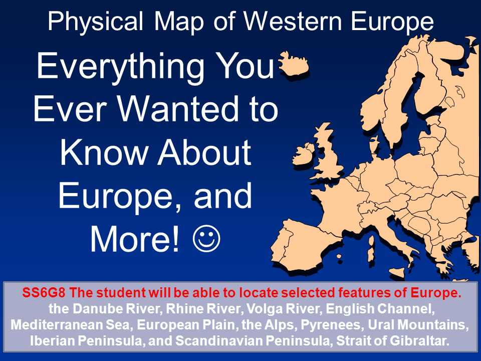 Physical Map of Western Europe