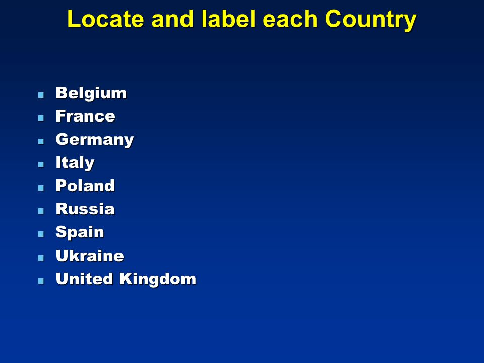 Locate and label each Country