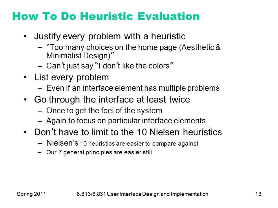 Lecture  Heuristic Evaluation  Ppt Download