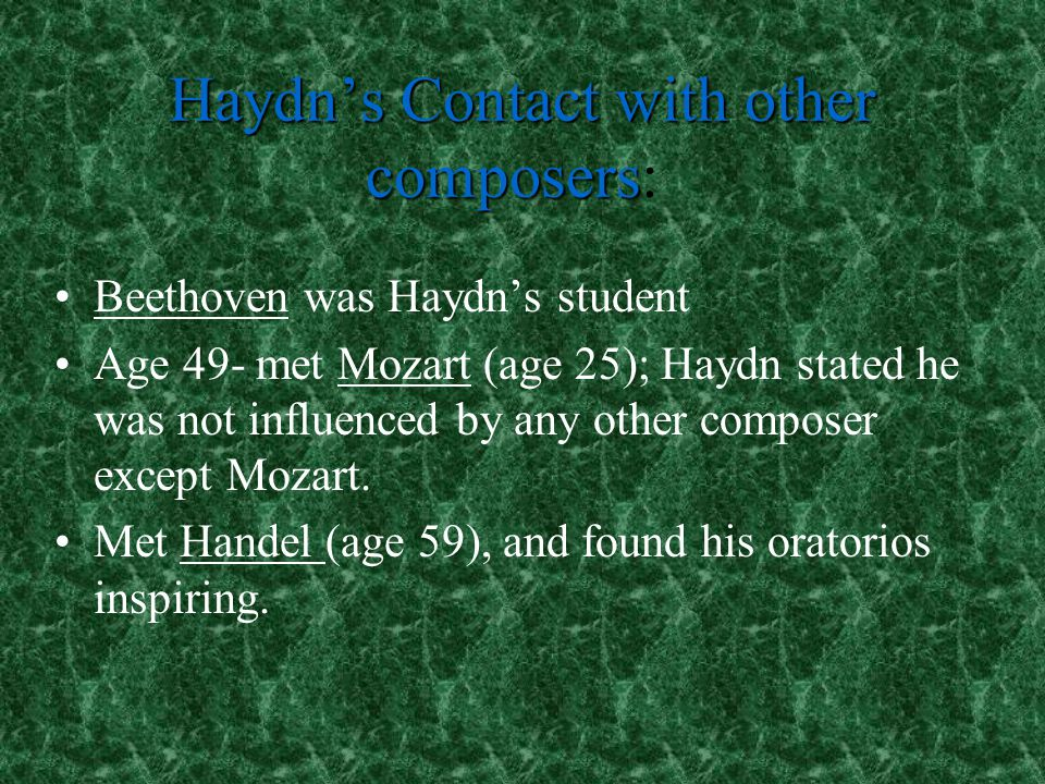 Haydn's Contact with other composers: